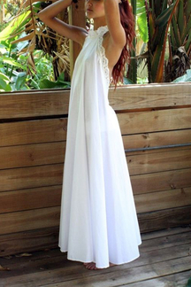 White Backless Halter Maxi Dress with Lace Details
