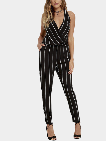 Stripe Pattern Sleeveless Wrap Front V-neck Jumpsuit