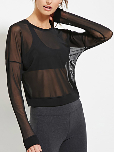 Long Sleeves Mesh Top in Black