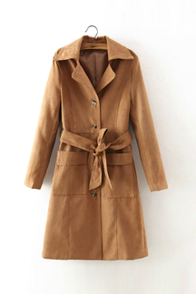 Suedette Belted Single Breasted Longline Trench Coat