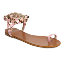 Pink Ring Toe Rivet Embellished Sandals