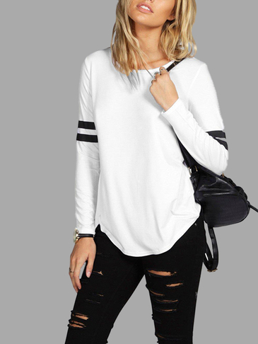 Loose White Round Neck Stripe Pattern Blouse with Long Sleeves