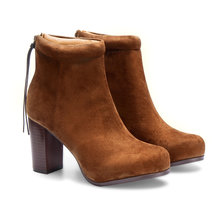 Suede High Ankle Boots in Brown