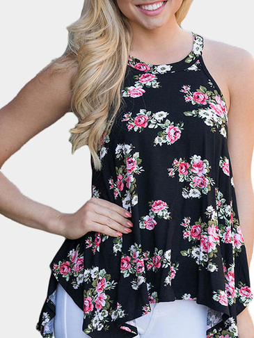 Round Neck Random Floral Print Cami Top in Black
