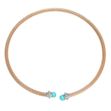 Gold Hollow Out Gemstone Torque Necklace