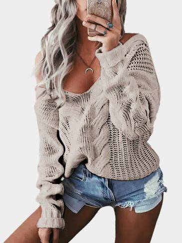 Grey V-neck Mangas Largas Causal Loose Jumper