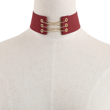 Fashion Red Suede Gold Metal Slef-tie Back Necklace