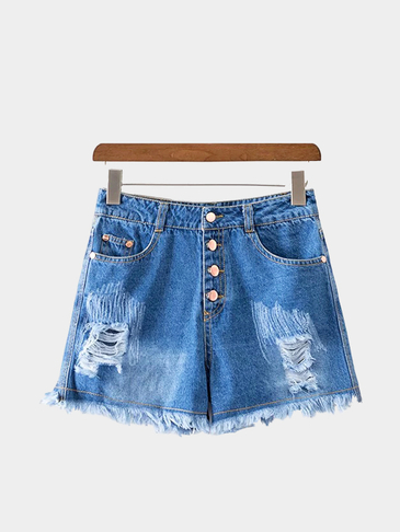 Classic Pocket Styling Fringe Ripped Denim Shorts