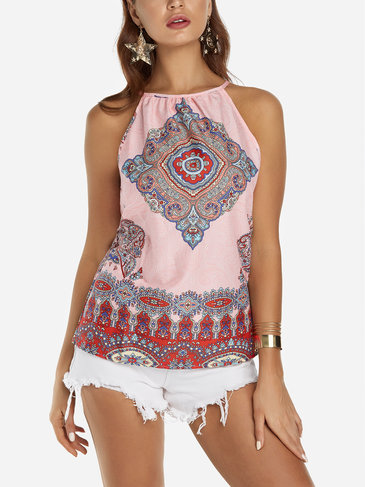 Red Summer Random Floral Print Halter Sleeveless Top