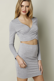 Light-grey V-neck Cross Front Hollow Sexy Suit