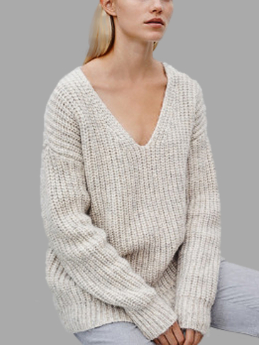 Loose V Neck Pullover Plain Color Knit Sweater