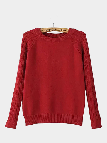 Cable Knit Long Sleeve Sweater in Red