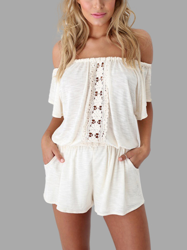 Off Shoulder Elastic Waistband Playsuit With Lace Details