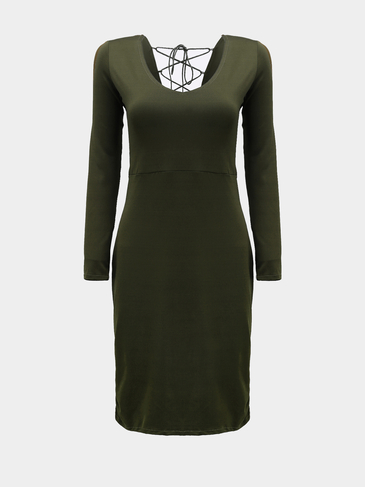 Back Lace-up Midi Dress in Green