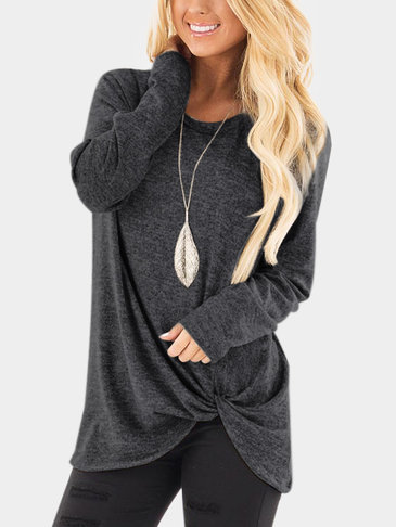 Dark Grey Crossed Front Design Plain Round Neck Long Sleeves T-shirts