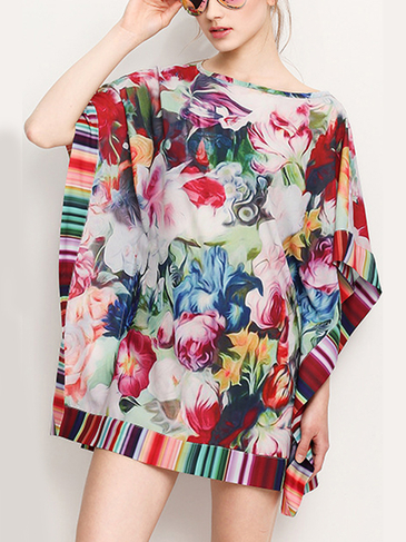 Fantasy Colour Pattern Bat Sleeve Blouse
