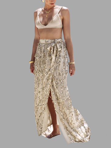 Sequins Tassel Split  Hem Skirt with Mesh Details