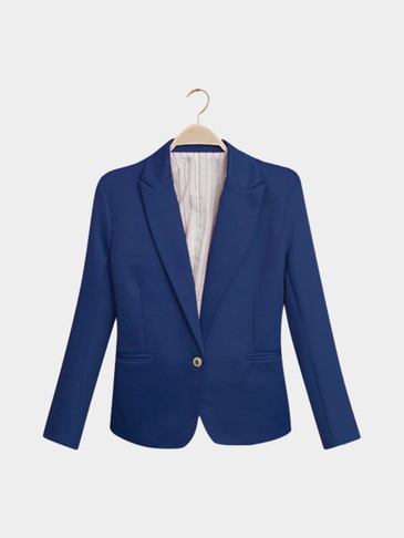 Royal Blue Fashion Long Sleeves Collar One Botton Front Blazer