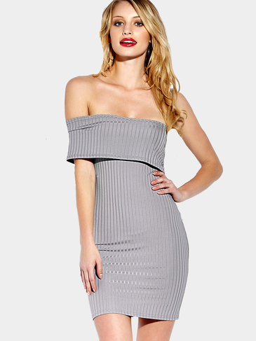 Grey Sexy One Shoulder Bodycon Mini Dress