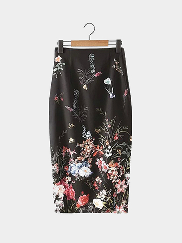 Black Floral Print Back Split Pencil Skirt