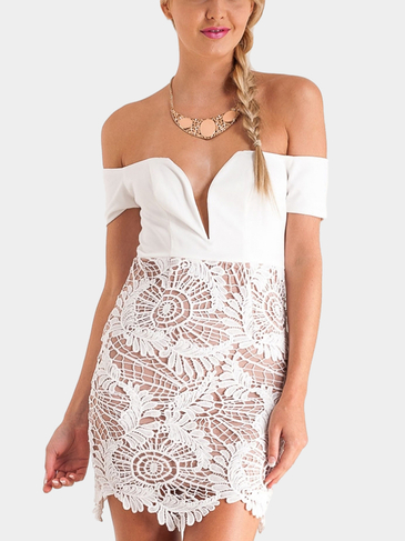 V-neck Off The Shoulder Lace Mini Dress
