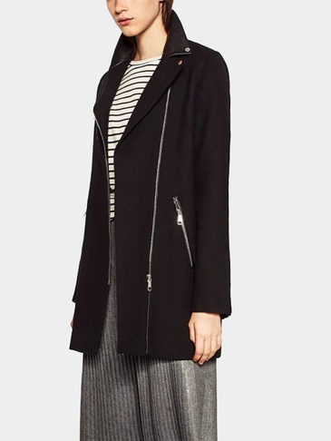 Black Zipper design Classic Collar Tweed Coat