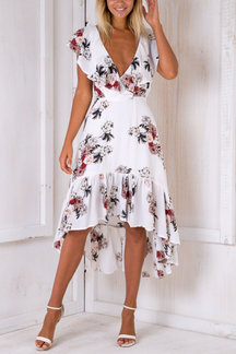 White Backless V-neck Random Floral Print Flounced Hem Dress