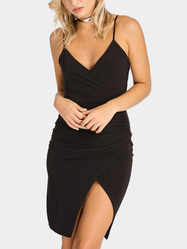 Black Bodycon V-neck Cross Front Wrap Mini Dress