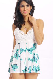 Floral Print V-neck Playsuit with Lace Details