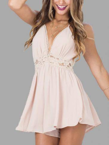 Apricot Crochet Lace Trim con cuello en V Sexy Playsuit