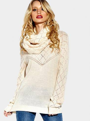 White High Neck Pullover Hollow Out Jumper with Two Pieces