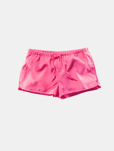 Pink Drawstring Waist Casual Shorts with Side Pockets