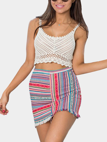 Sleeveless Hollow Out Crochet Details Crop Top
