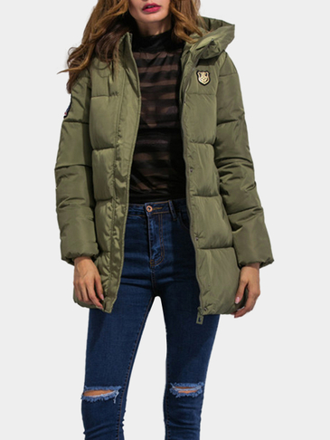 Fashion Army Verde Side bolsos Hoodie Quilted Outerwear