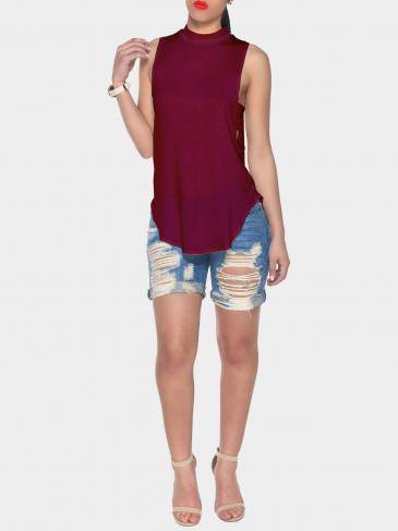 Burgundy Halter Neck Cut Out Back Vest with Curved Hem