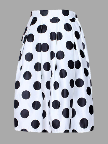 White Vintage Wave Point Pattern» A-line Skirt