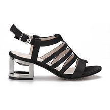 Black Leather Look Straps Metallic Hollow Heel Gladiator Sandals