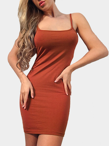 Brown Backless Bodycon Fit Slip Dress