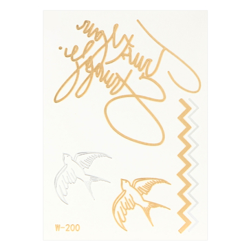 Wave Swallow Metallic Temporary Body Tattoo Sticker