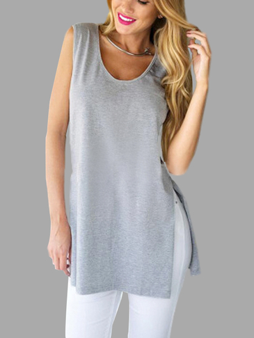 Splited Sleeveless Crew Neck Top