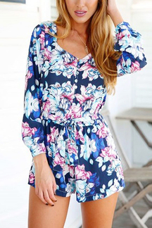 Floral Playsuit with Tied Belt