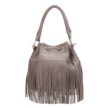 Purple Leather-look Drawstring Closure Tassel Design Shoulder Bag