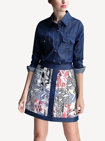Blue Denim Shirt & Printing A-line Skirt Co-ords