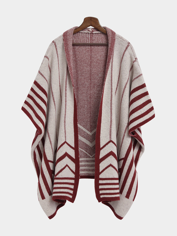 Burgundy Long Striped Shawl Knitted Cardigan