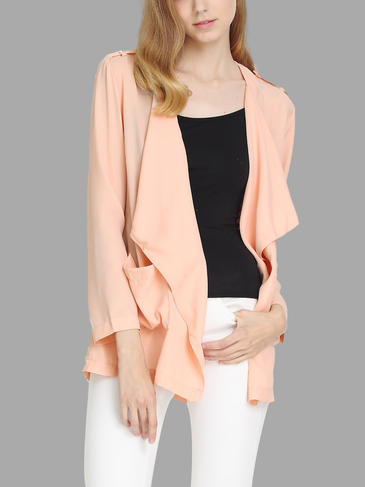 Fahion Open Front Long Sleeves Pockets Cardigan
