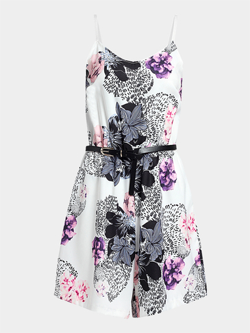 Floral Print Cami Playsuit with Belt