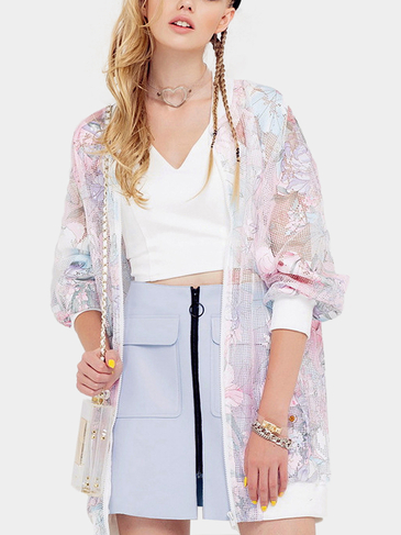 Floral Print Longline See-Through Coat