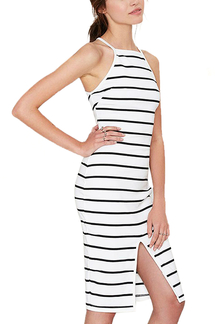 Stripe Cami Dress With Split Front