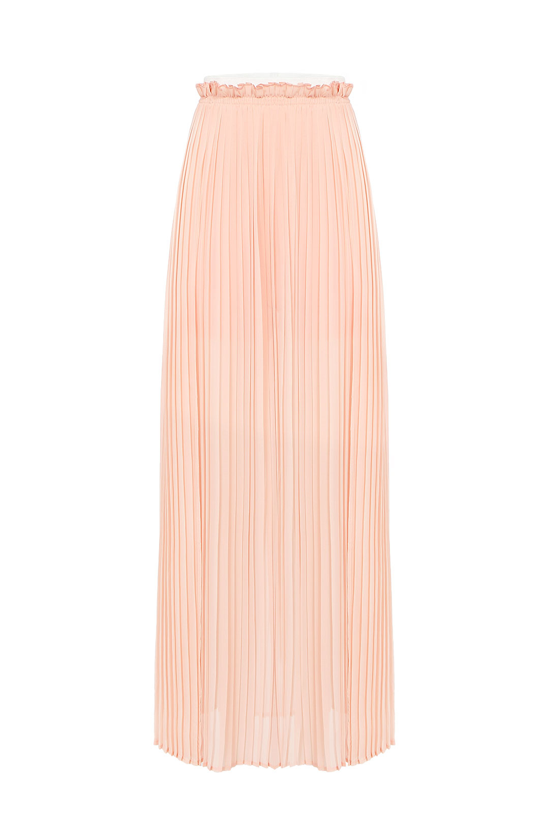 Pink Pleated Chiffon Skirt With High Side Split