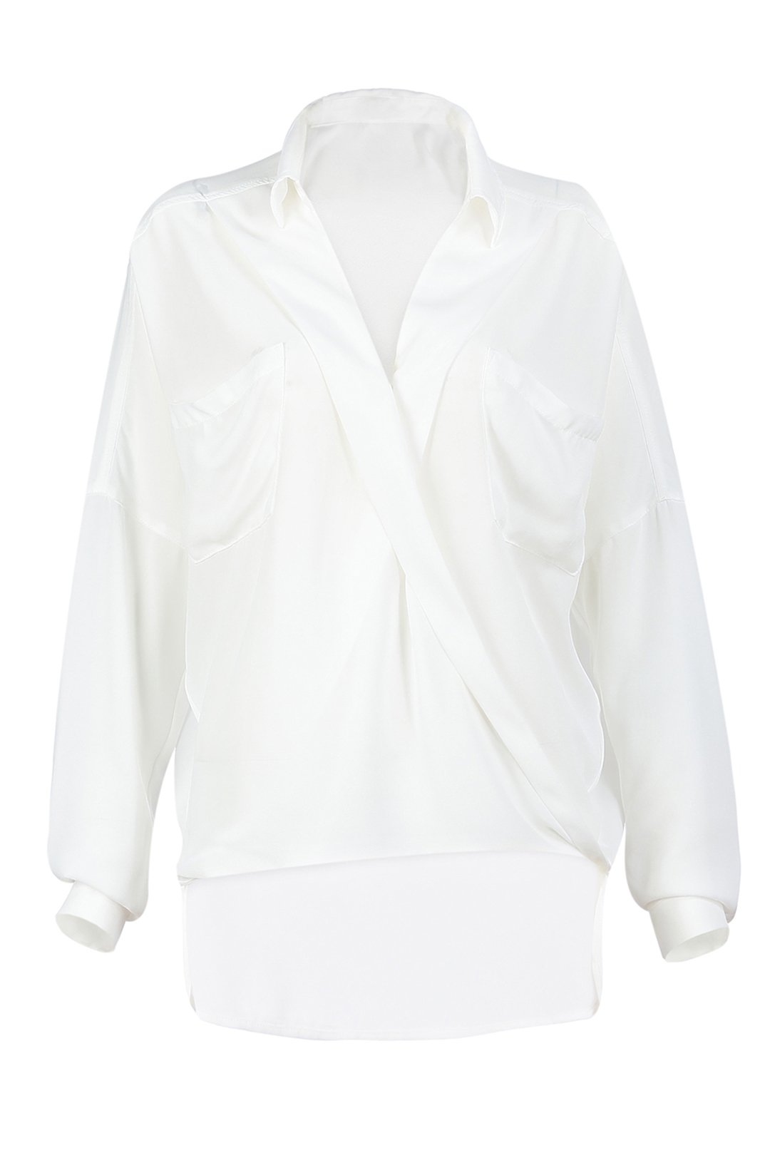 White High Low Tailored Blouse